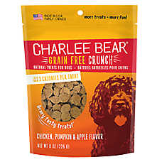 Charlee Bear Bear Crunch Natural, Grain Free, Chicken, Pumpkin & Apple Dog Treat