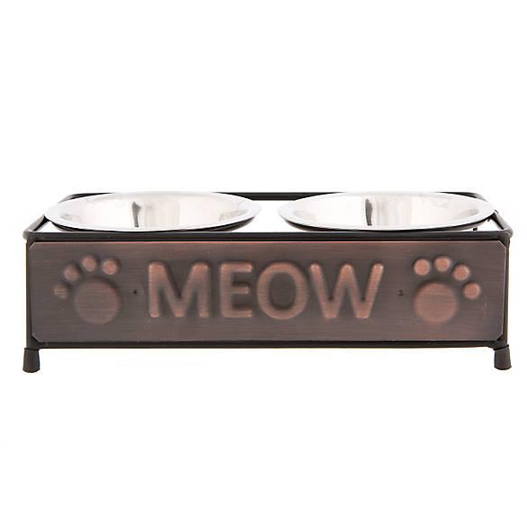 Whisker city copper cat meow double diner cat bowl cat for Fish bowl petsmart