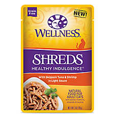 Wellness® Healthy Indulgence Shreds Adult Cat Food - Grain Free, Natural, SkipJack Tuna & Shrimp