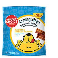 Grreat Choice® Craving Strips Dog Treat - Bacon & Cheese