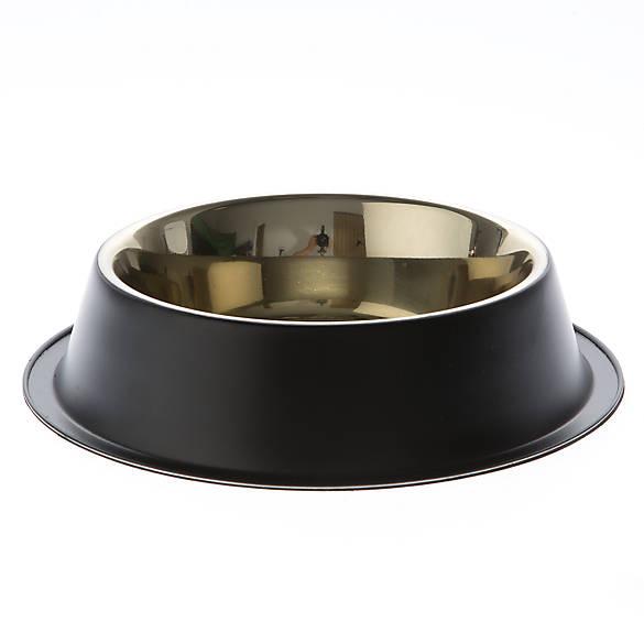 Top paw black steel design dog bowl dog food water for Fish bowl petsmart