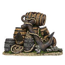 Top Fin® Barrels & Anchor Aquarium Ornament