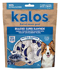 Kalos Braided Super Rawhide Dog Treat - Vanilla & Blueberry