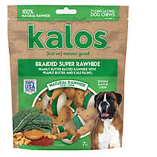 Kalos Braided Super Rawhide Dog Treat - Peanut Butter & Kale