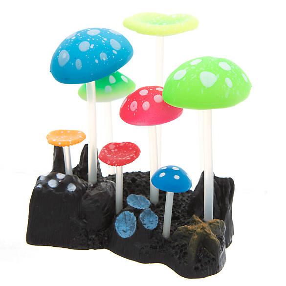 Top fin multicolor mushrooms aquarium ornament fish for Petsmart fish decor