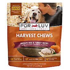 Pur Luv™ Harvest Chews Dog Treat - Brown Rice & Turkey