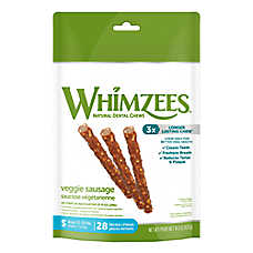 WHIMZEES Veggie Sausage Small Dental Dog Treat - Natural
