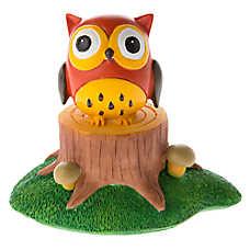 top fin owl on stump aquarium ornament