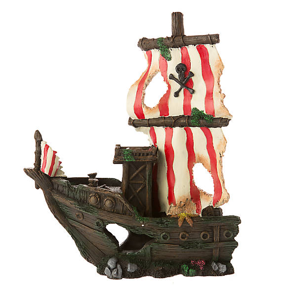 Top fin sunken pirate ship aquarium ornament fish for Fish tank pirate ship