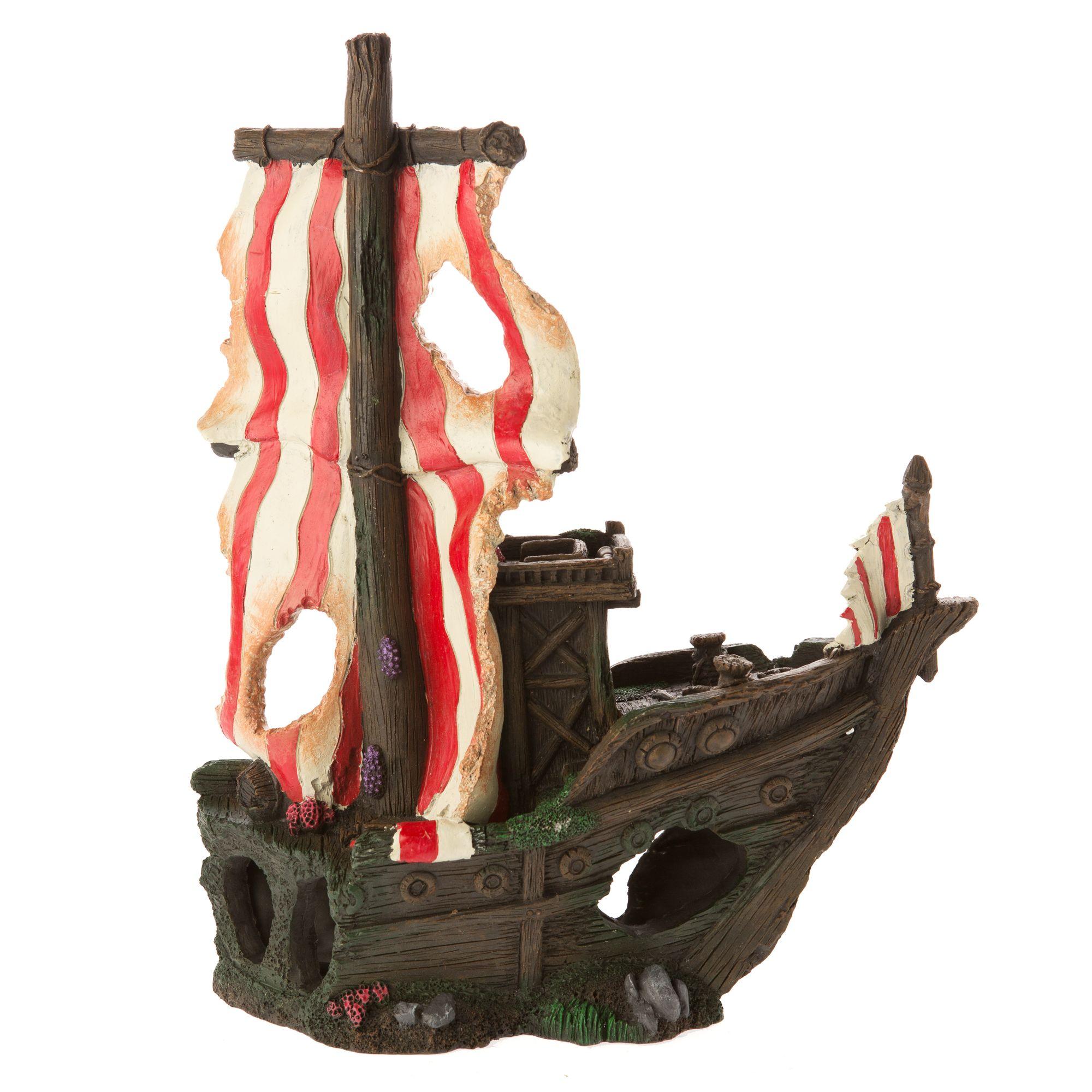 Top Fin Sunken Pirate Ship Aquarium Ornament Fish Ornaments