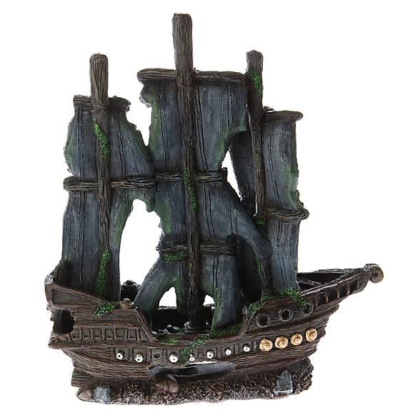 Top fin dark pirate ship aquarium ornament fish for Petsmart fish decor