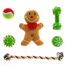 Pet Holiday™ Gingerbread Man with Rope 6-Pack Dog Toy