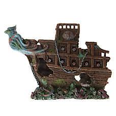 Top Fin® Bird Sunken Half Ship Aquarium Ornament