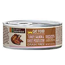 Simply Nourish™ Cat Food - Natural, Grain Free, Turkey, Salmon & Sweet Potato Stew