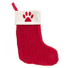 Pet Holiday™ Paw Print Cable Knit Pet Stocking