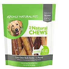 "Only Natural Pet All Natural Chews Low Ordor 4"" Bully Sticks Dog Treat"