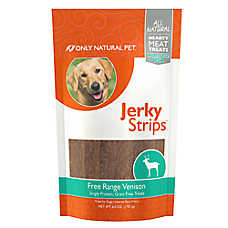 Only Natural Pet Jerky Strips Dog Treat - Natural, Grain Free, Free Range Venison