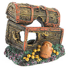 top fin sunken treasure chest aquarium ornament