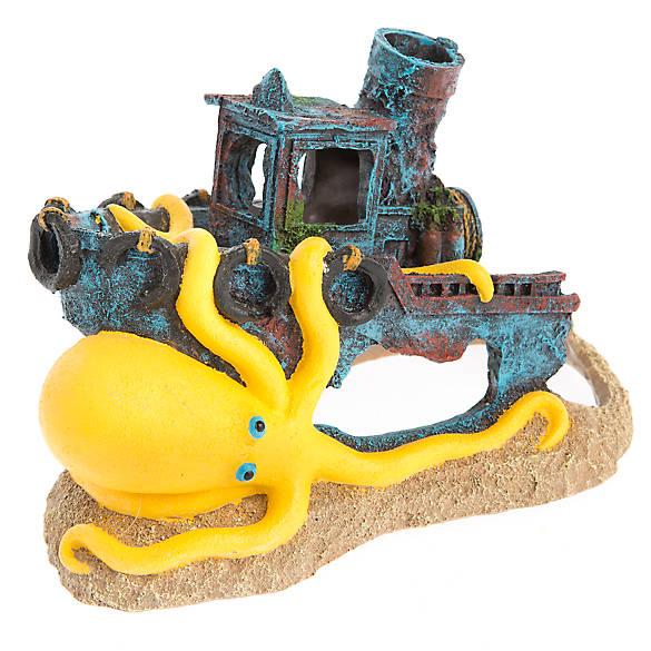 Top fin sunken boat with octopus aquarium ornament fish for Petsmart fish decor