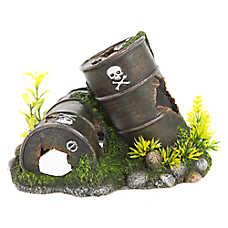 Top Fin® Oil Drums with Plants Aquarium Ornament