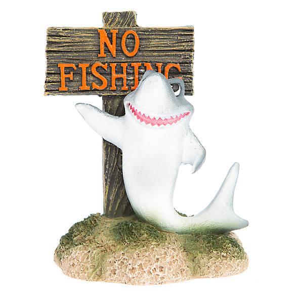 Top fin no fishing with shark aquarium ornament fish for Petsmart fish decor