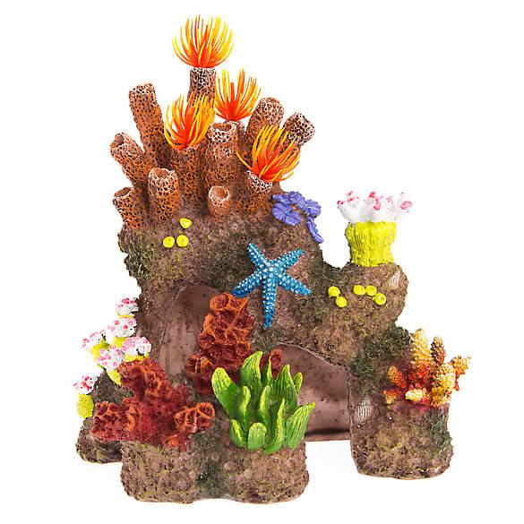 Top fin coral reef cave aquarium ornament fish for Petsmart fish decor