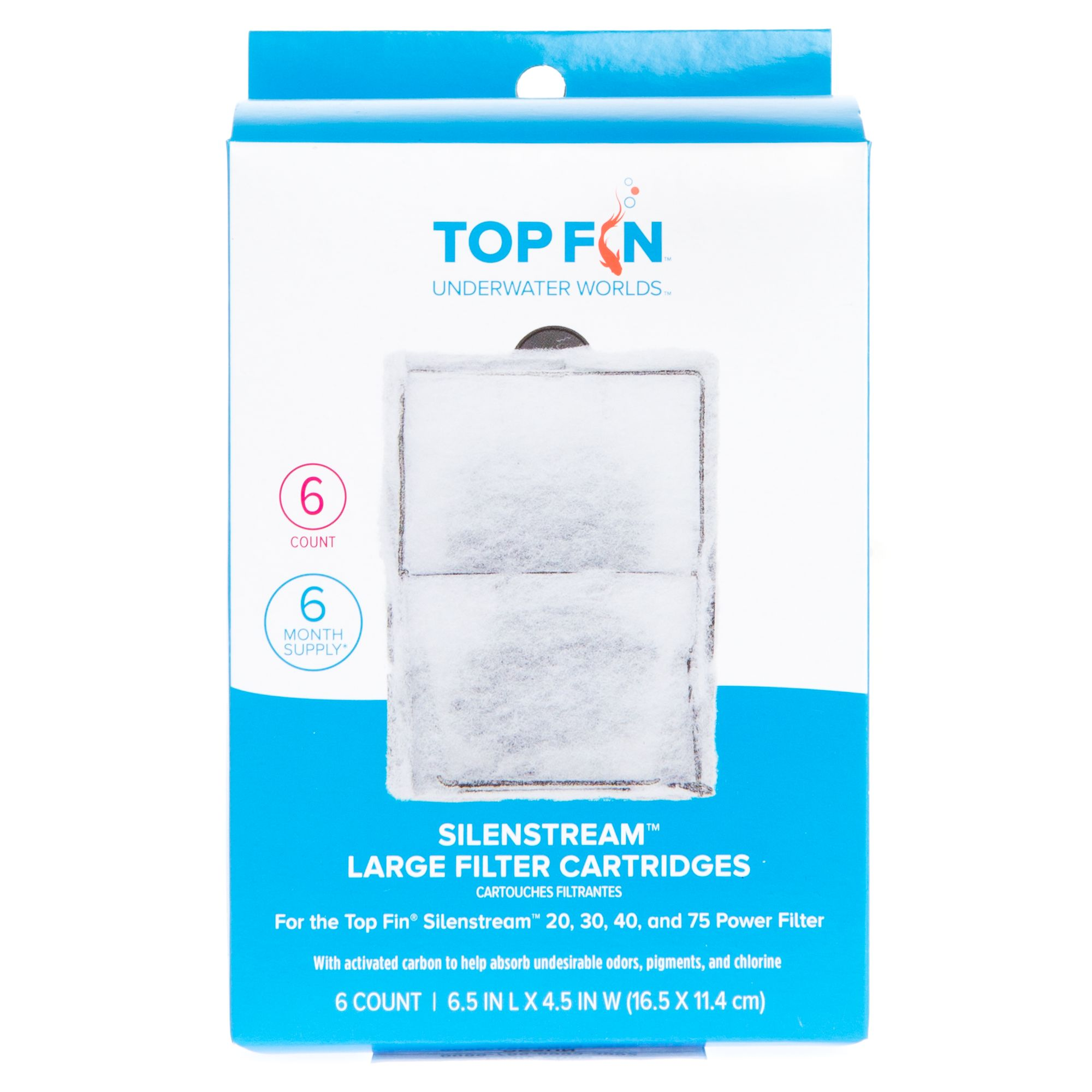 PF30 Top Fin Silenstream PF-L Refill for PF20 3 Count PF40 and PF75 Power Filters 6.5in x 4.5-