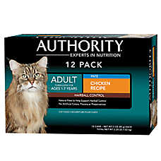 Authority® Hairball Control Adult Cat Food - Chicken, 12ct