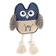 ED Ellen DeGeneres Owl Joy Dog Toy - Plush, Rope, Squeaker
