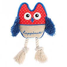 ED Ellen DeGeneres Owl Happiness Dog Toy - Plush, Rope, Squeaker