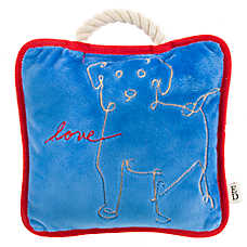 ED Ellen DeGeneres Dog Love Pillow Dog Toy - Plush, Rope, Squeaker
