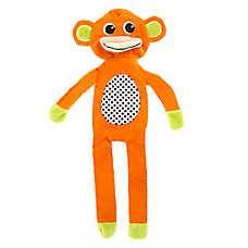 "Puppies""R""Us™ Monkey Flattie Dog Toy - Crinkle, Squeaker"