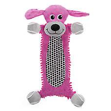 "Puppies""R""Us™ Long Body Flattie Dog Toy - Crinkle, Plush, Squeaker"