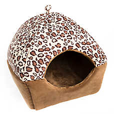 Whisker City® Leopard Hut Cuddler Cat Bed