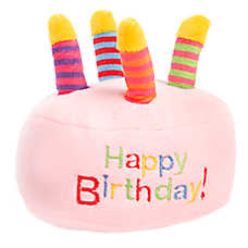 "Top Paw® ""Happy Birthday"" Cake Dog Toy - Plush, Squeaker"