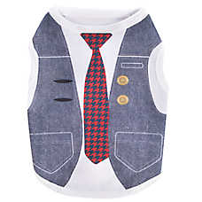 Top Paw® Back To School Denim Vest Plaid Tie Dog Tee