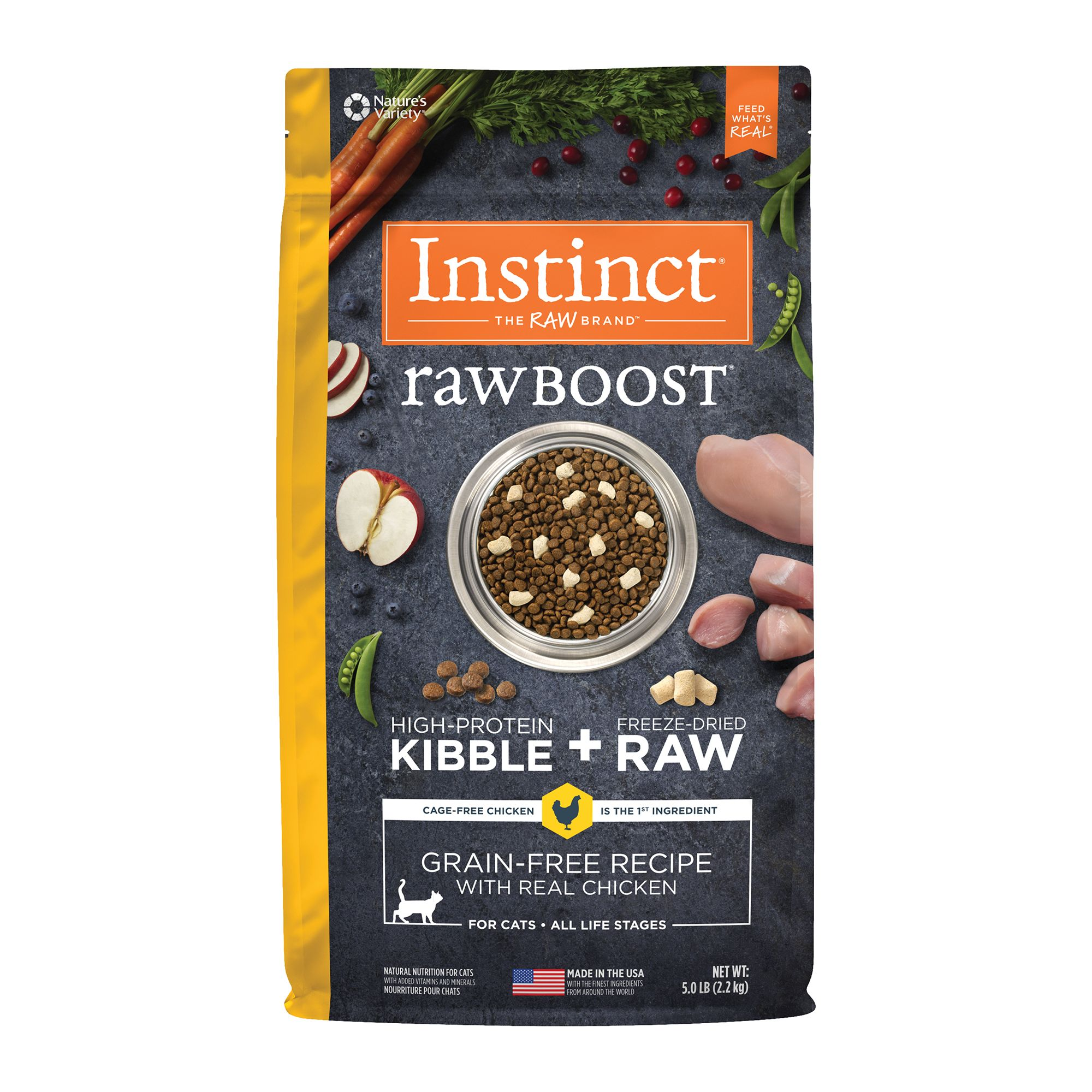 Nature's Variety Instinct Raw Boost Cat Food - Natural, Grain Free, Freeze Dried Raw, Chicken