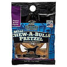 Redbarn Mini Chew-A-Bulls Pretzel Dog Chew - Peanut Butter Flavor