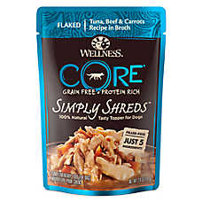 Wellness® CORE® Simply Shreds Dog Food Topper - Natural, Grain Free, Tuna, Beef & Carrots