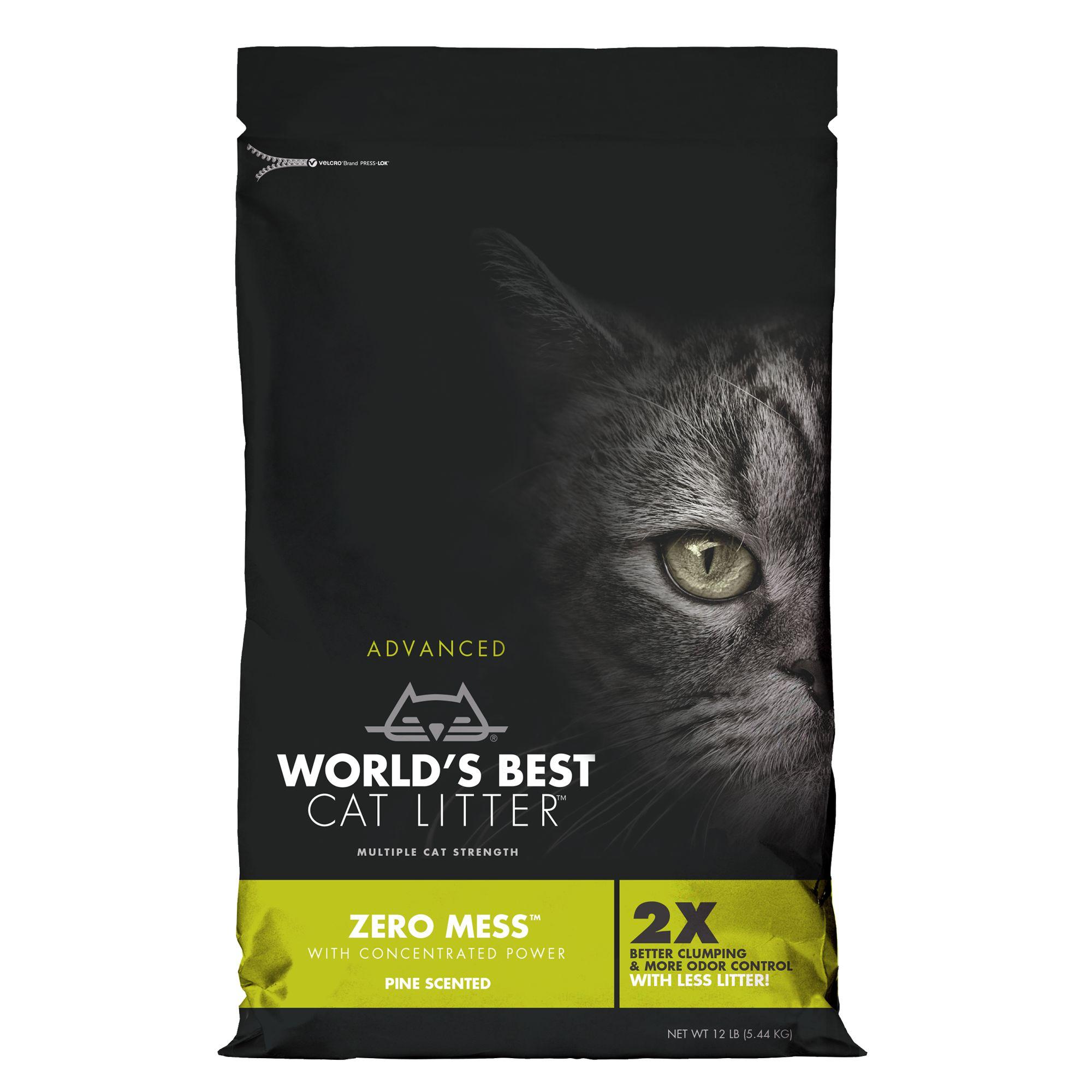Worlds Best 12Lb Cat Litter Advanced Zero Mess Cat Litter - Clumping, Pine