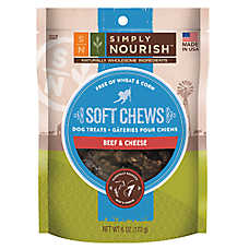 Simply Nourish™ Soft Chews Dog Treat - Natural, Beef & Cheese