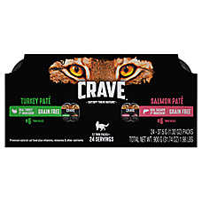 Crave Adult Cat Food - Natural, Grain Free,Turkey & Salmon Pate, Variety Pack, 12ct