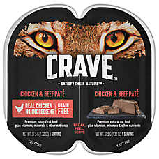 Crave Adult Cat Food - Natural, Grain Free, Chicken & Beef Pate