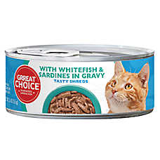Grreat Choice® Tasty Shreds Cat Food - Whitefish & Sardines in Gravy
