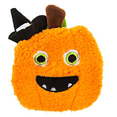 Thrills & Chills™ Halloween Witch Hat Pumpkin Flattie Dog Toy - Crinkle