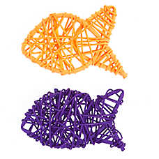 Thrills & Chills™ Halloween Wicker Fish Cat Toys - 2 Pack