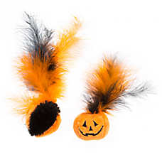 Thrills & Chills™ Halloween Pumpkins with Feathers Cat Toys - 2 Pack