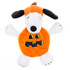 Peanuts® Snoopy Pumpkin Flattie Dog Toy - Crinkle, Plush, Squeaker