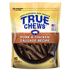True Chews Pork & Sausage Dog Treat - Natural