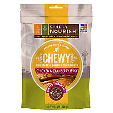 Simply Nourish™ Chewy Jerky Dog Treat - Natural, Grain Free, Chicken & Cranberry